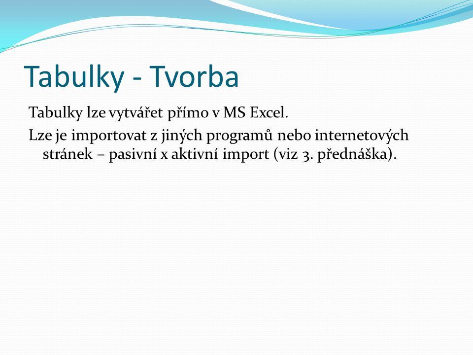 Tabulky - Tvorba Tabulky lze vytvářet přímo v MS Excel.