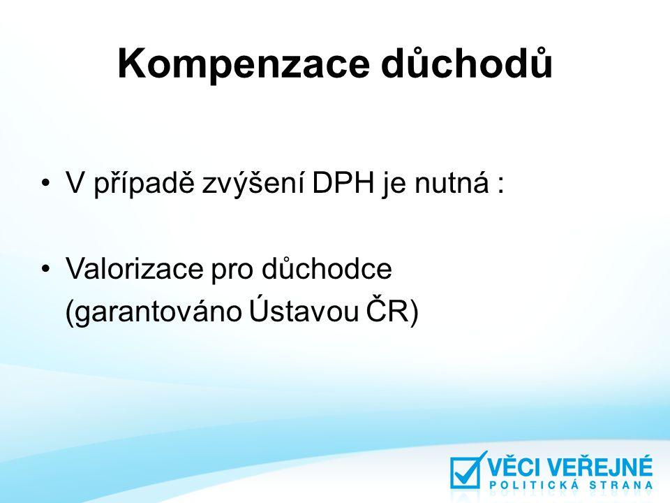 Kompenzace důchodů V případě zvýšení DPH je nutná : Valorizace pro důchodce (garantováno Ústavou ČR)