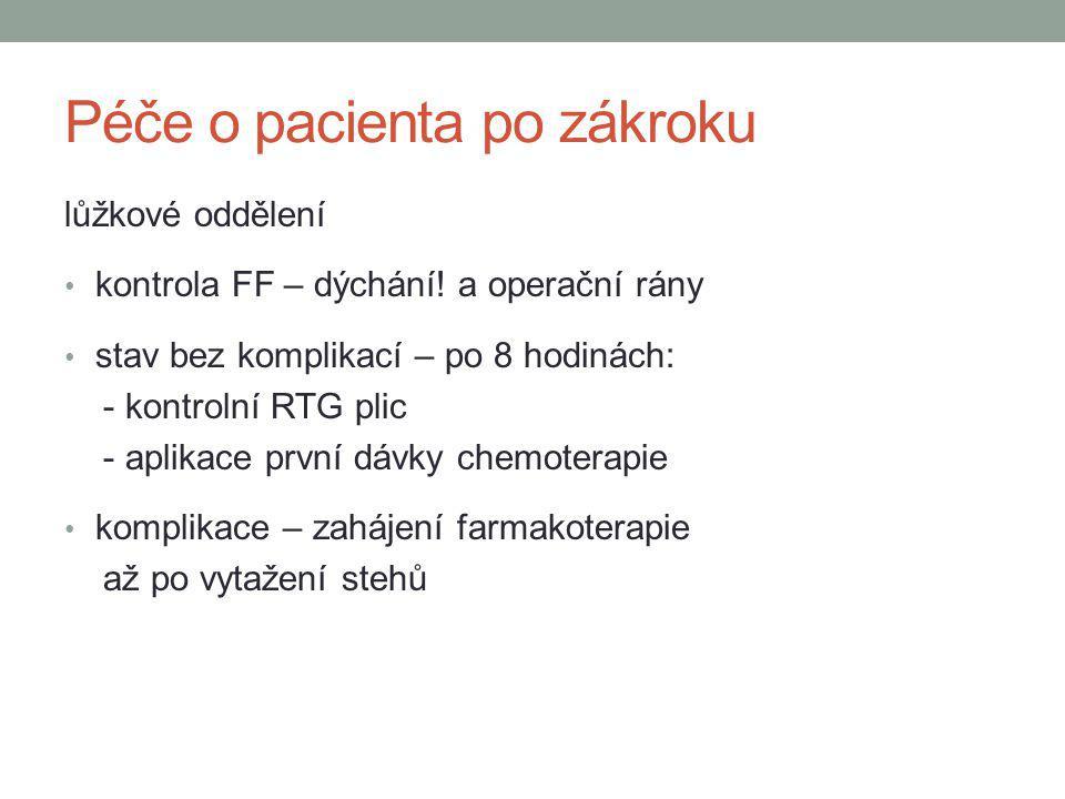 Péče o pacienta po zákroku lůžkové oddělení kontrola FF – dýchání! a operační rány stav bez komplikací – po 8 hodinách: - kontrolní RTG plic - aplikac