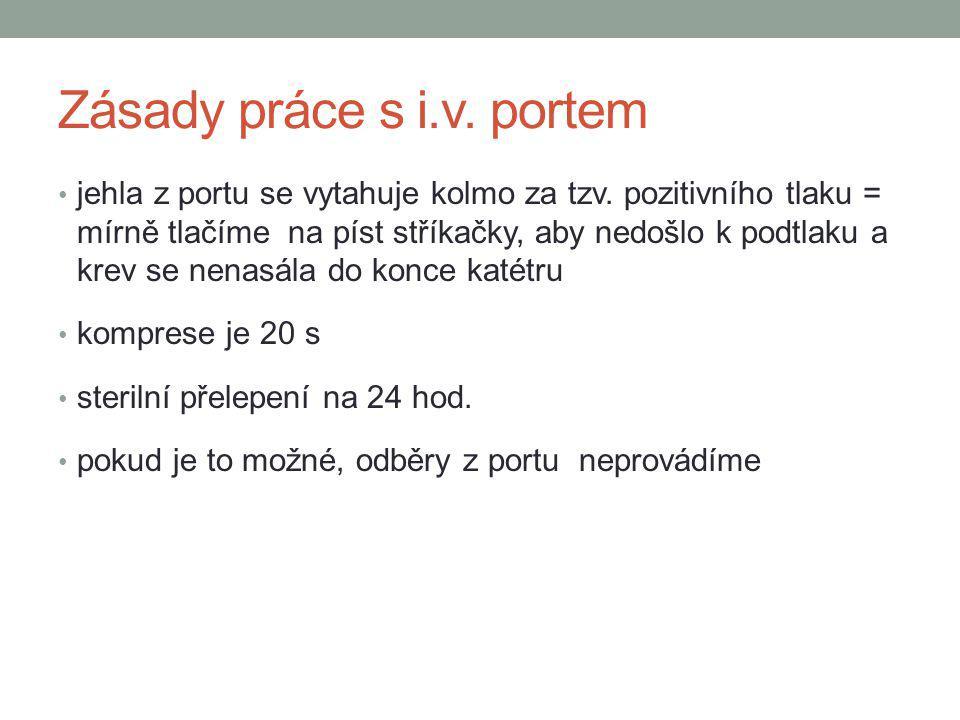 Zásady práce s i.v. portem jehla z portu se vytahuje kolmo za tzv. pozitivního tlaku = mírně tlačíme na píst stříkačky, aby nedošlo k podtlaku a krev