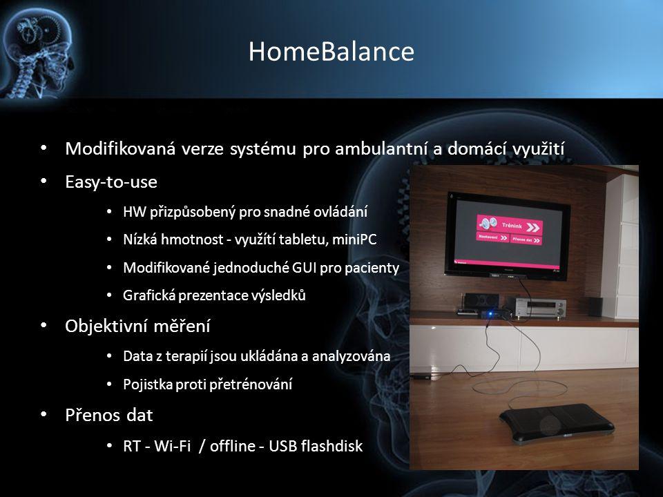HomeBalance Modifikovaná verze systému pro ambulantní a domácí využití Easy-to-use HW přizpůsobený pro snadné ovládání Nízká hmotnost - využítí tablet
