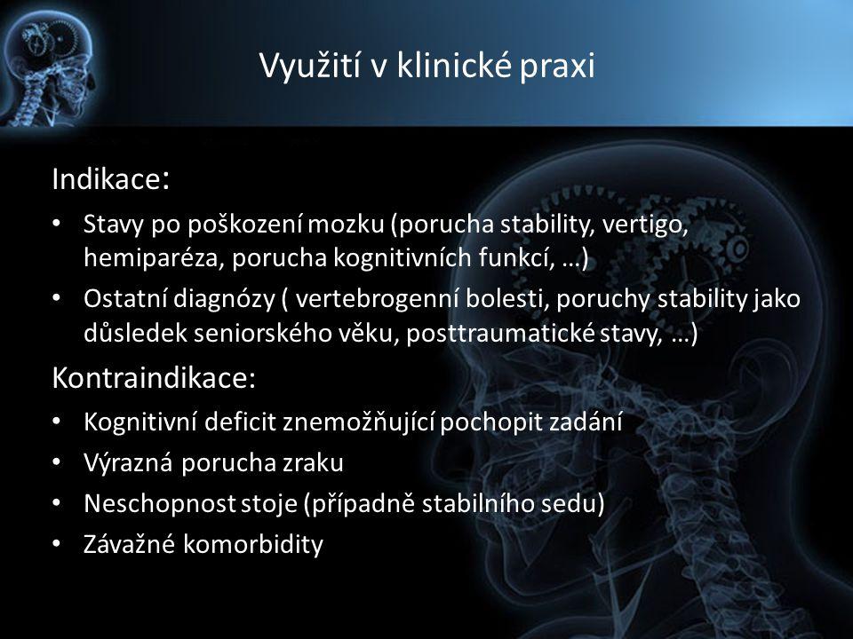 Využití v klinické praxi Indikace : Stavy po poškození mozku (porucha stability, vertigo, hemiparéza, porucha kognitivních funkcí, …) Ostatní diagnózy