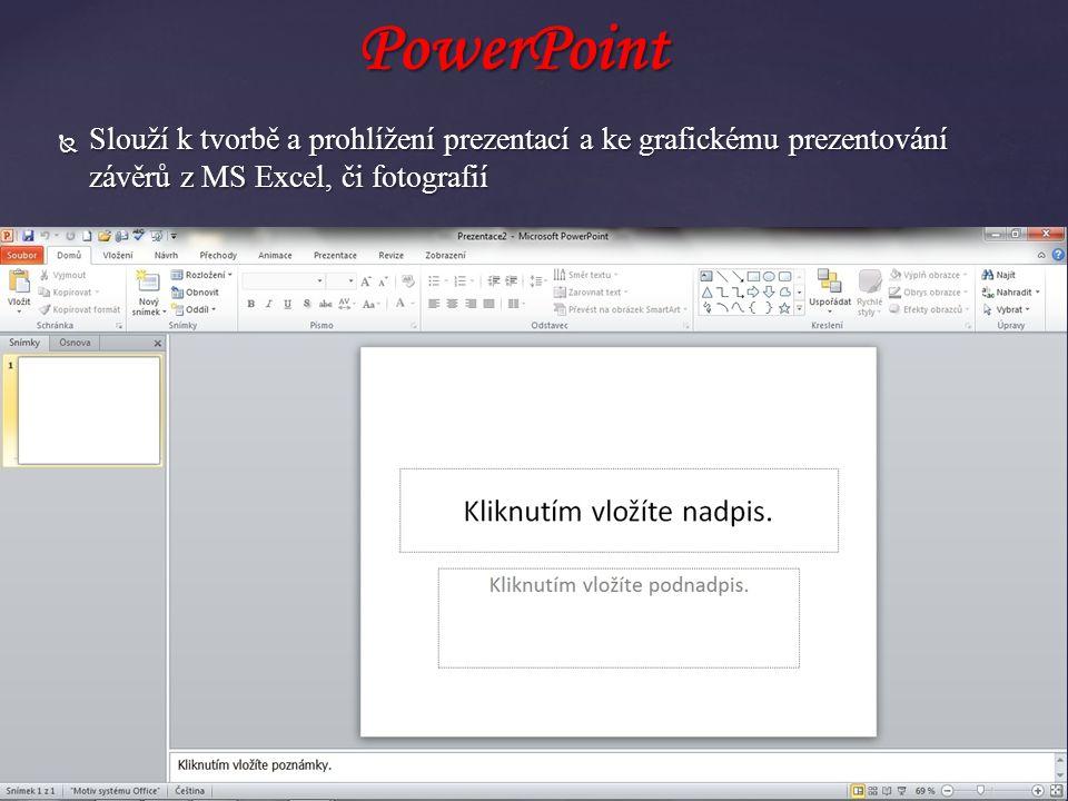  Slouží k tvorbě a prohlížení prezentací a ke grafickému prezentování závěrů z MS Excel, či fotografií PowerPoint