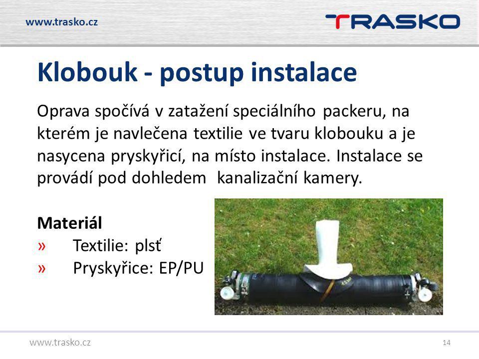 14 Klobouk - postup instalace www.trasko.cz Oprava spočívá v zatažení speciálního packeru, na kterém je navlečena textilie ve tvaru klobouku a je nasy