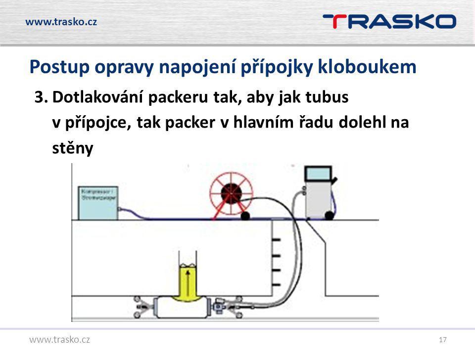17 Postup opravy napojení přípojky kloboukem www.trasko.cz 3.Dotlakování packeru tak, aby jak tubus v přípojce, tak packer v hlavním řadu dolehl na st