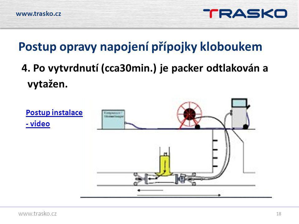 18 Postup opravy napojení přípojky kloboukem www.trasko.cz 4. Po vytvrdnutí (cca30min.) je packer odtlakován a vytažen. Postup instalace - video