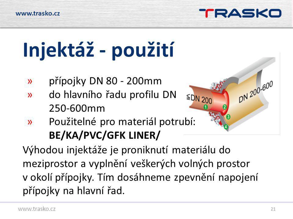 21 Injektáž - použití www.trasko.cz Výhodou injektáže je proniknutí materiálu do meziprostor a vyplnění veškerých volných prostor v okolí přípojky. Tí