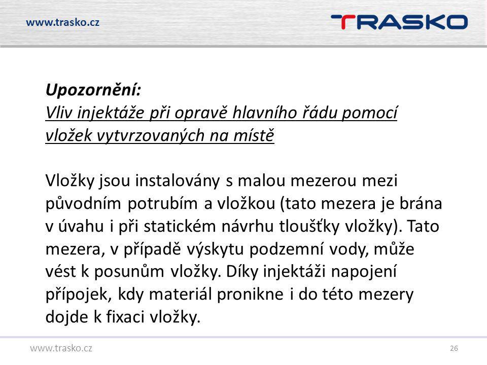 26 www.trasko.cz Upozornění: Vliv injektáže při opravě hlavního řádu pomocí vložek vytvrzovaných na místě Vložky jsou instalovány s malou mezerou mezi