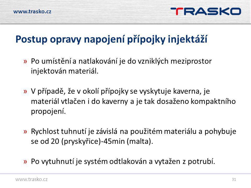 31 Postup opravy napojení přípojky injektáží www.trasko.cz »Po umístění a natlakování je do vzniklých meziprostor injektován materiál. »V případě, že