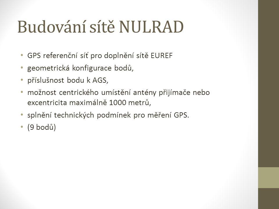 Budování sítě NULRAD GPS referenční síť pro doplnění sítě EUREF geometrická konfigurace bodů, příslušnost bodu k AGS, možnost centrického umístění antény přijímače nebo excentricita maximálně 1000 metrů, splnění technických podmínek pro měření GPS.