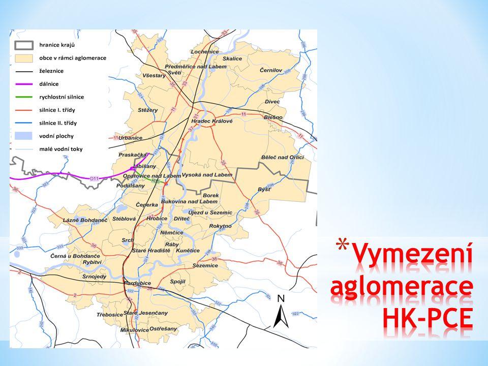 * Jádrové území – města Hradec Králové a Pardubice + obce mezi těmito městy (podél komunikace I/37) se silnou regionální vazbou na jádra * Vymezení dle admin.