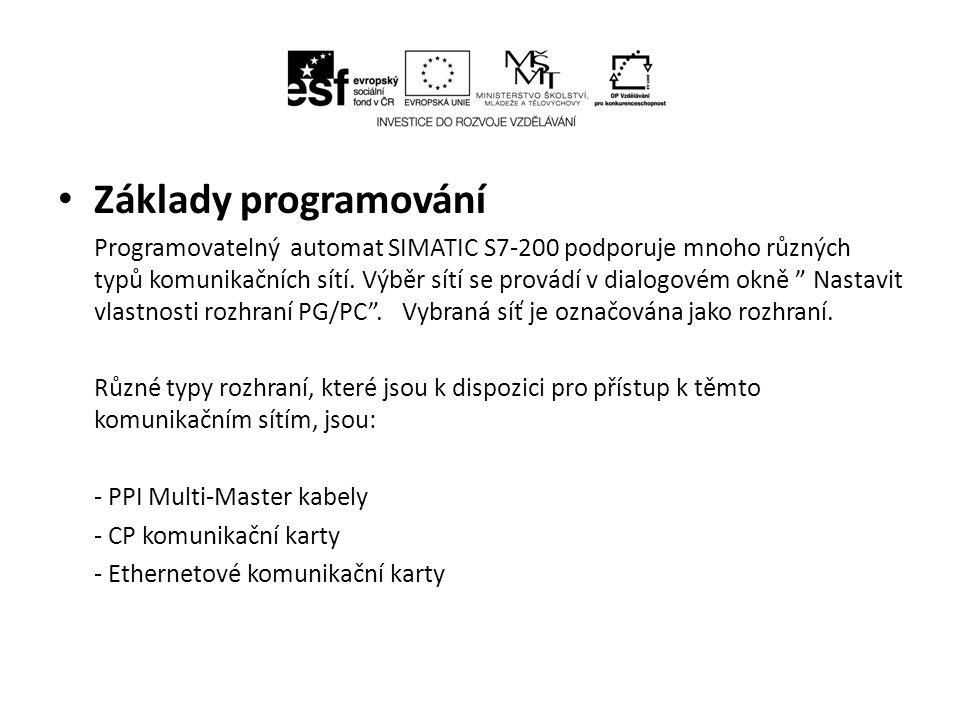 """Základy programování Programovatelný automat SIMATIC S7-200 podporuje mnoho různých typů komunikačních sítí. Výběr sítí se provádí v dialogovém okně """""""