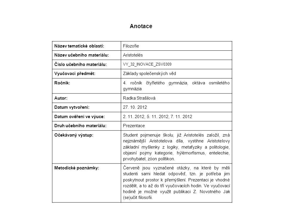 Anotace Název tematické oblasti: Filozofie Název učebního materiálu: Aristotelés Číslo učebního materiálu: VY_32_INOVACE_ZSV0309 Vyučovací předmět: Zá