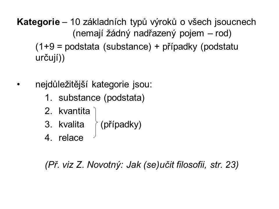 Kategorie – 10 základních typů výroků o všech jsoucnech (nemají žádný nadřazený pojem – rod) (1+9 = podstata (substance) + případky (podstatu určují))