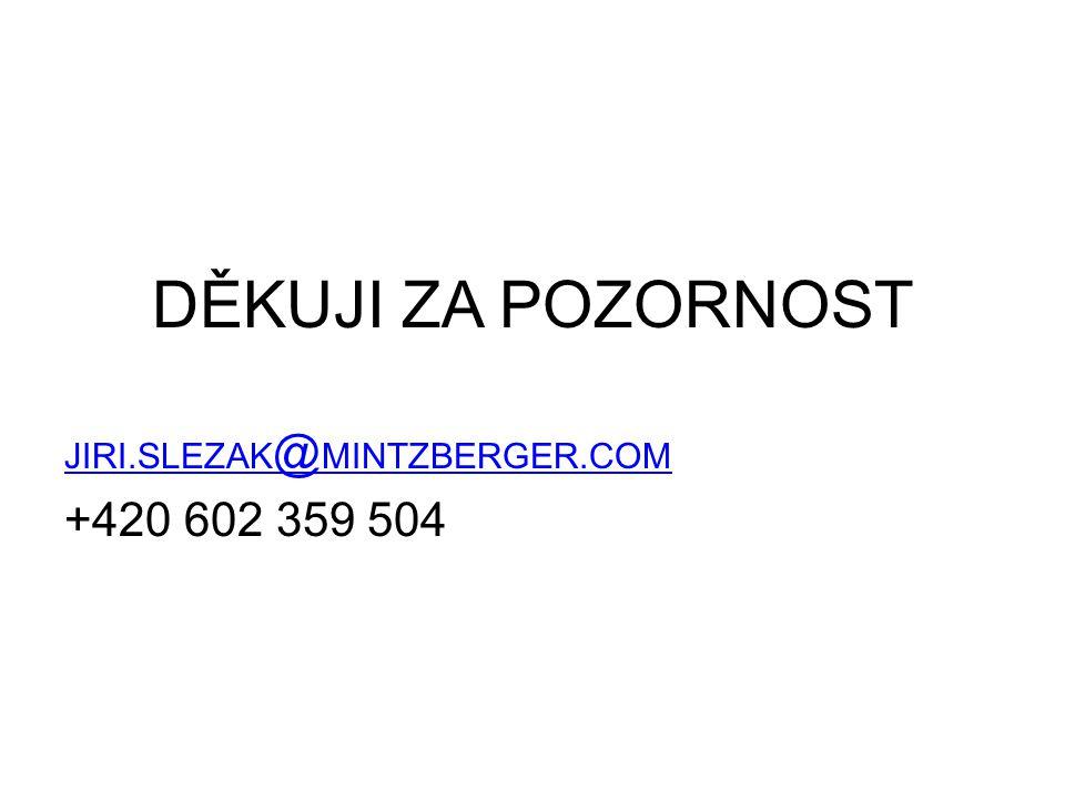 DĚKUJI ZA POZORNOST JIRI.SLEZAK @ MINTZBERGER.COM +420 602 359 504
