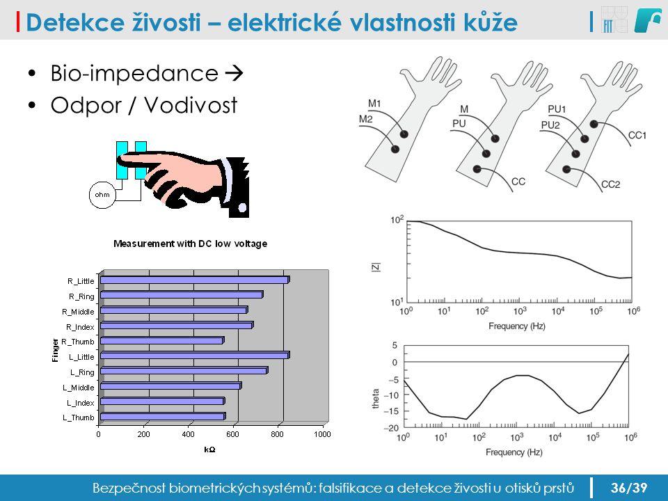 Detekce živosti – elektrické vlastnosti kůže Bezpečnost biometrických systémů: falsifikace a detekce živosti u otisků prstů Bio-impedance  Odpor / Vo