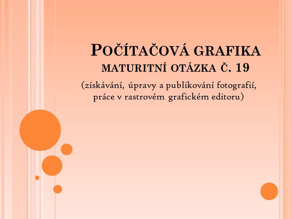 P OČÍTAČOVÁ GRAFIKA MATURITNÍ OTÁZKA Č. 19 (získávání, úpravy a publikování fotografií, práce v rastrovém grafickém editoru)