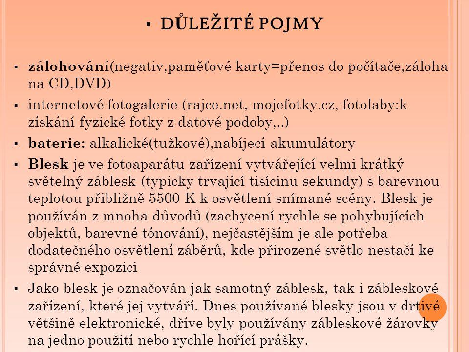  D Ů LEŽITÉ POJMY  zálohování (negativ,paměťové karty=přenos do počítače,záloha na CD,DVD)  internetové fotogalerie (rajce.net, mojefotky.cz, fotol