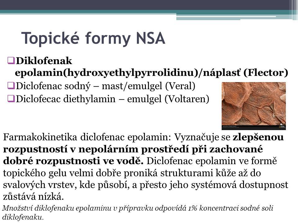 Topické formy NSA  Diklofenak epolamin(hydroxyethylpyrrolidinu)/náplasť (Flector)  Diclofenac sodný – mast/emulgel (Veral)  Diclofecac diethylamin – emulgel (Voltaren) Farmakokinetika diclofenac epolamin: Vyznačuje se zlepšenou rozpustností v nepolárním prostředí při zachované dobré rozpustnosti ve vodě.