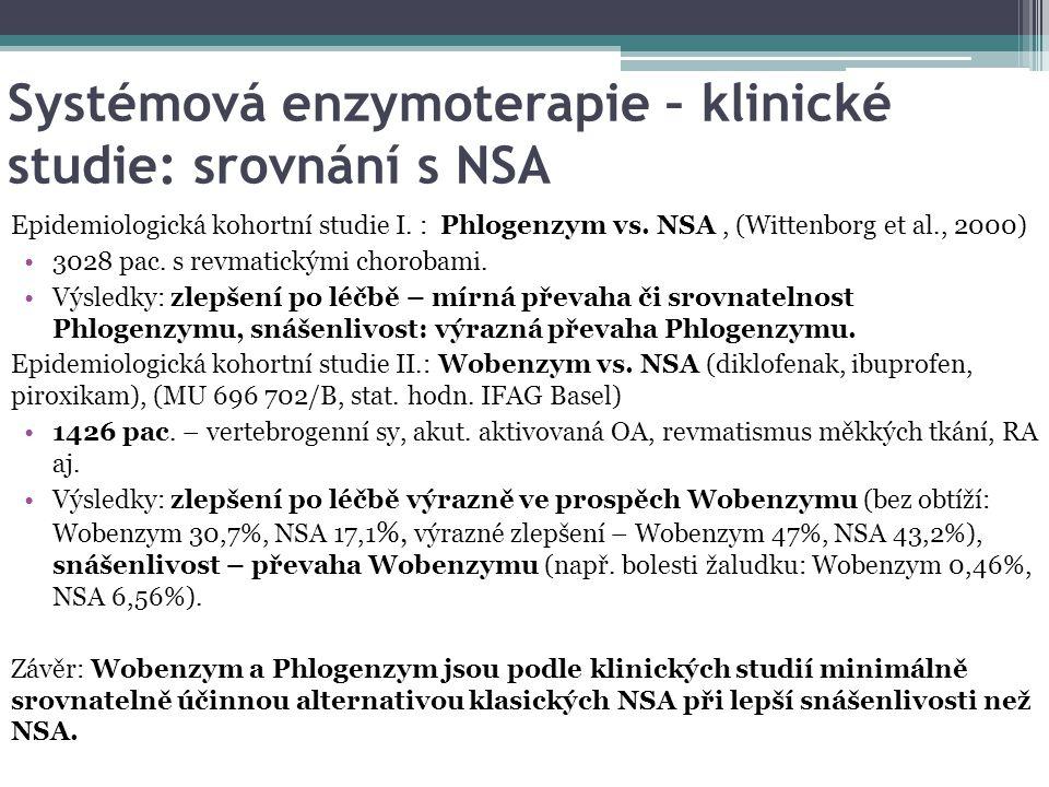 Systémová enzymoterapie – klinické studie: srovnání s NSA Epidemiologická kohortní studie I. : Phlogenzym vs. NSA, (Wittenborg et al., 2000) 3028 pac.