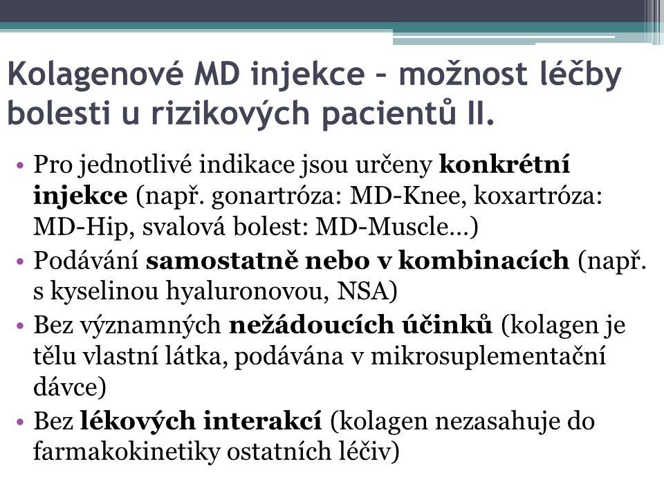 Kolagenové MD injekce – možnost léčby bolesti u rizikových pacientů II. Pro jednotlivé indikace jsou určeny konkrétní injekce (např. gonartróza: MD-Kn