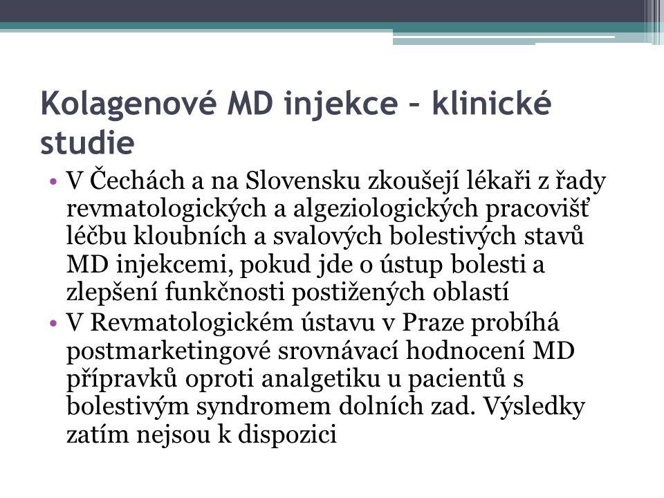 Kolagenové MD injekce – klinické studie V Čechách a na Slovensku zkoušejí lékaři z řady revmatologických a algeziologických pracovišť léčbu kloubních