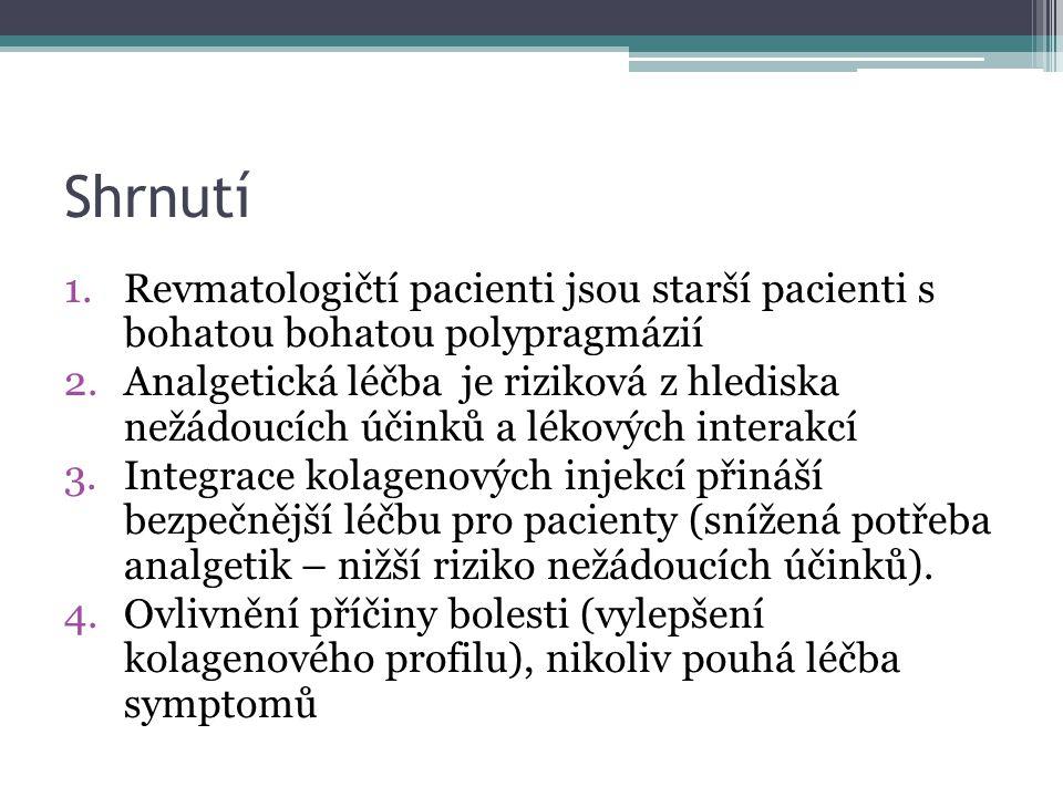 Shrnutí 1.Revmatologičtí pacienti jsou starší pacienti s bohatou bohatou polypragmázií 2.Analgetická léčba je riziková z hlediska nežádoucích účinků a