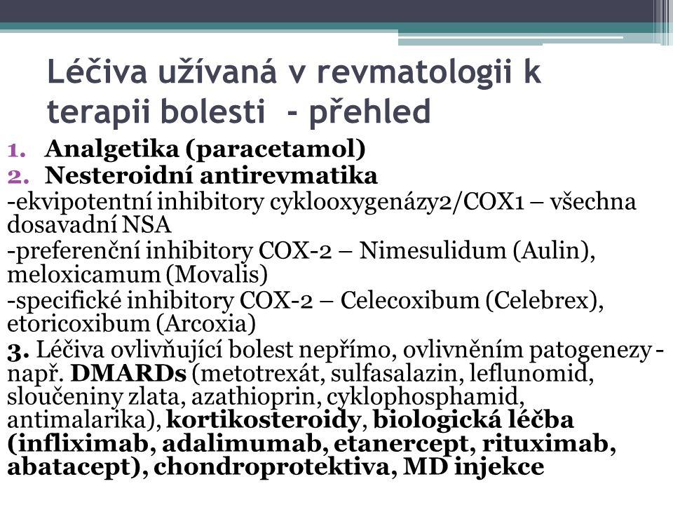 Léčiva užívaná v revmatologii k terapii bolesti - přehled 1.Analgetika (paracetamol) 2.Nesteroidní antirevmatika -ekvipotentní inhibitory cyklooxygenázy2/COX1 – všechna dosavadní NSA -preferenční inhibitory COX-2 – Nimesulidum (Aulin), meloxicamum (Movalis) -specifické inhibitory COX-2 – Celecoxibum (Celebrex), etoricoxibum (Arcoxia) 3.