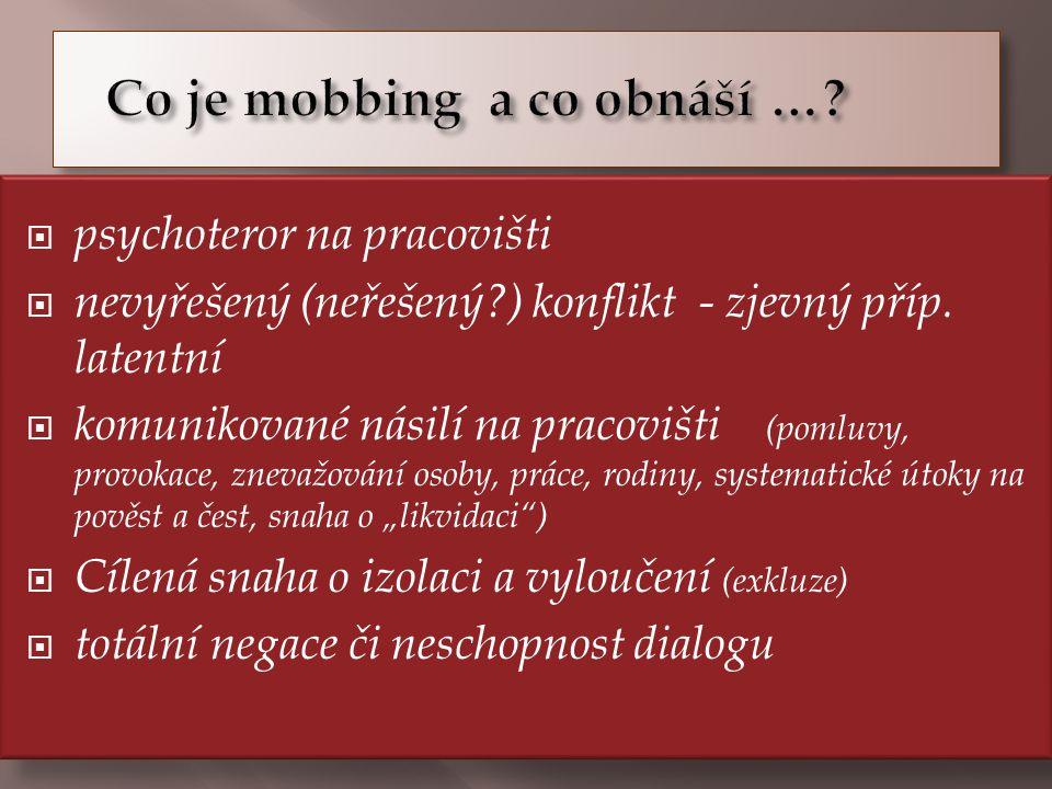  psychoteror na pracovišti  nevyřešený (neřešený?) konflikt - zjevný příp.