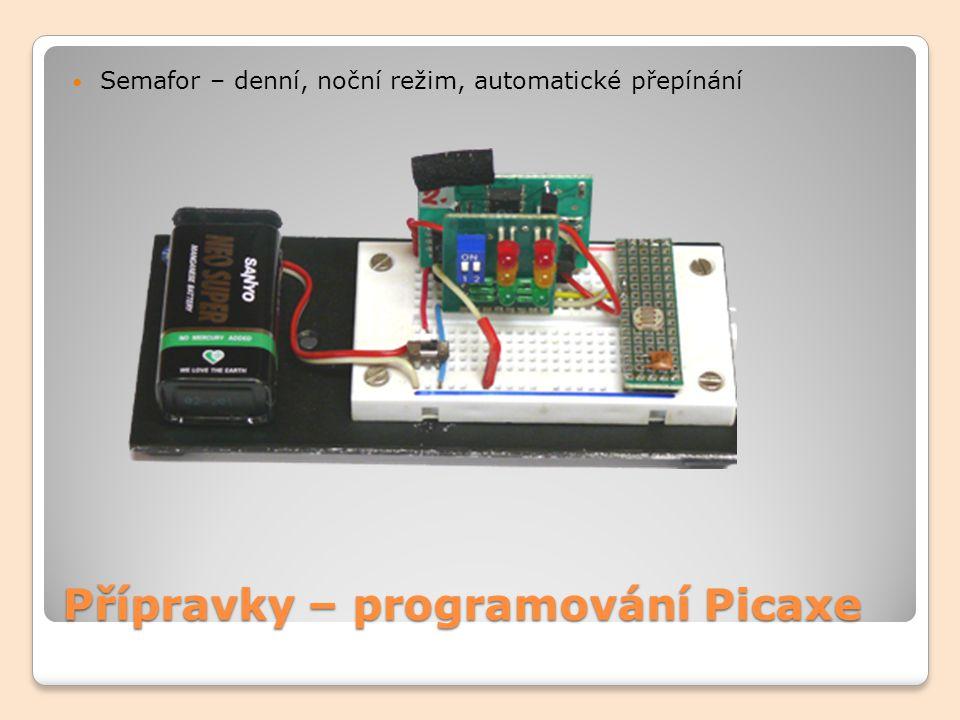 Přípravky – programování Picaxe Model auta ovládaného přes BlueTooth ovládáme:pohyb dopředu dozadu doleva doprava světlaobrysová dálková mlhová- přední mlhová- zadní blinkr-levý blinkr- pravý výstražná zpátečka brzdová zvukpiezo sirénka velká siréna jeřábotáčení-doprava -360st.