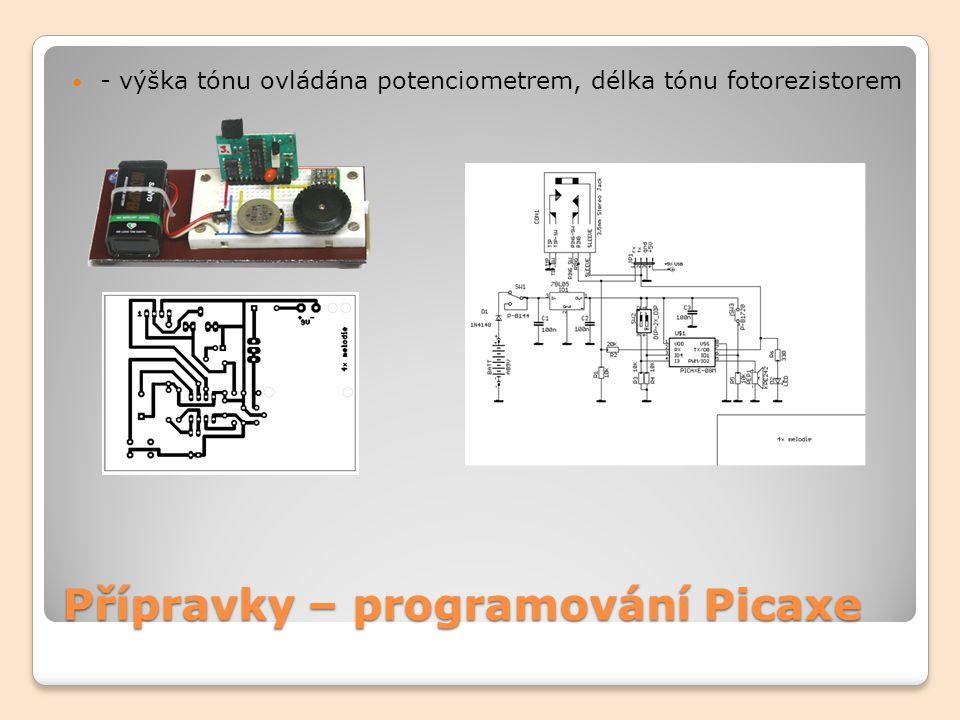 Přípravky – programování Picaxe - SEMAFOR, denní, noční režim (fotorezistor) s možností ručního nastavení DEN/NOC (jumper)