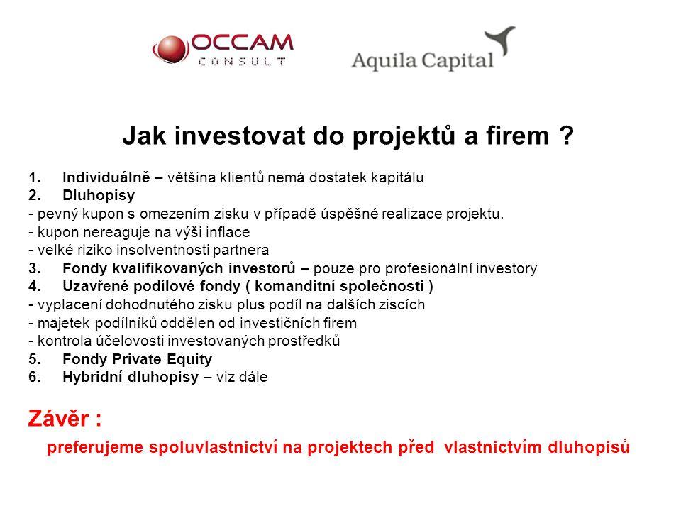 1. Individuálně – většina klientů nemá dostatek kapitálu 2. Dluhopisy - pevný kupon s omezením zisku v případě úspěšné realizace projektu. - kupon ner