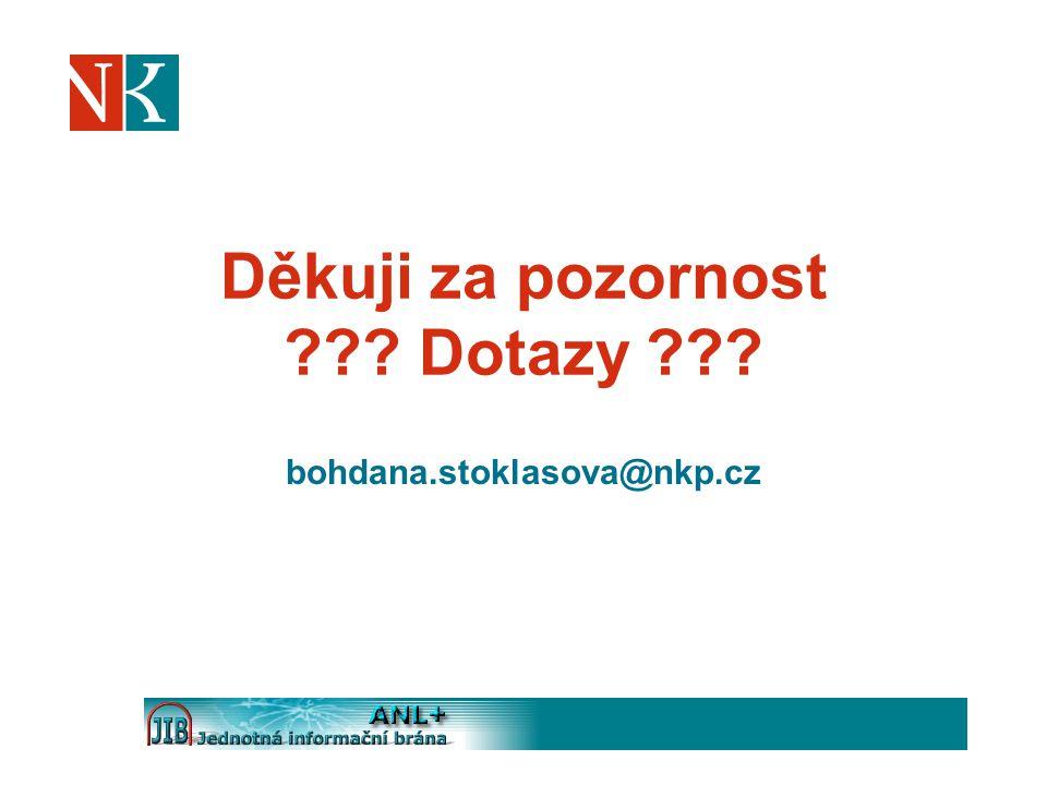 Děkuji za pozornost ??? Dotazy ??? bohdana.stoklasova@nkp.cz