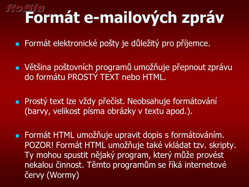 Formát e-mailových zpráv Formát elektronické pošty je důležitý pro příjemce.