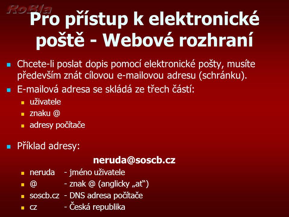 Pro přístup k elektronické poště - Webové rozhraní Chcete-li poslat dopis pomocí elektronické pošty, musíte především znát cílovou e-mailovou adresu (schránku).