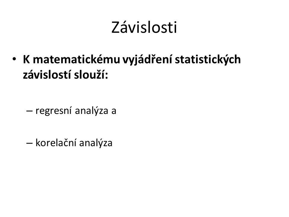 Závislosti K matematickému vyjádření statistických závislostí slouží: – regresní analýza a – korelační analýza
