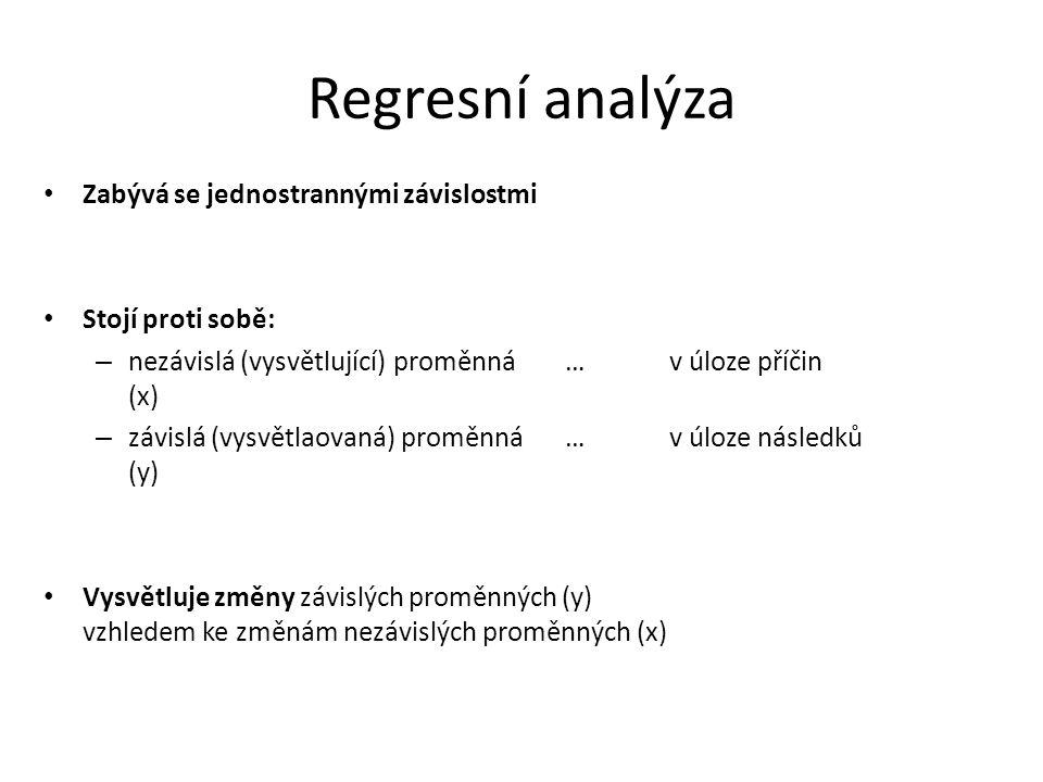 Regresní analýza Zabývá se jednostrannými závislostmi Stojí proti sobě: – nezávislá (vysvětlující) proměnná…v úloze příčin (x) – závislá (vysvětlaovan