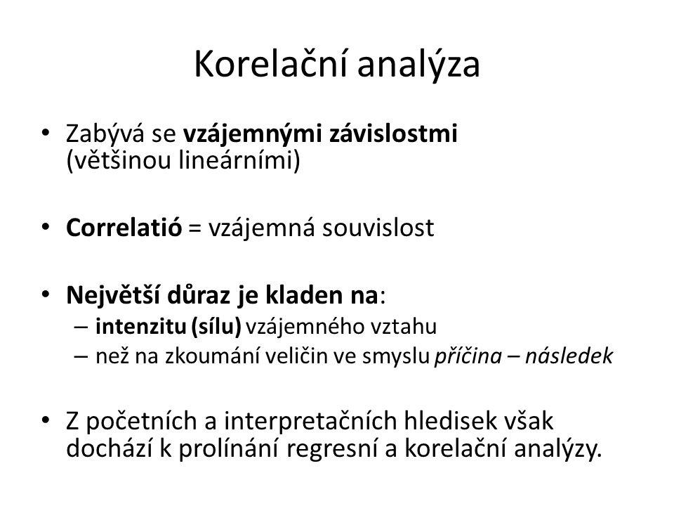 Korelační analýza Zabývá se vzájemnými závislostmi (většinou lineárními) Correlatió = vzájemná souvislost Největší důraz je kladen na: – intenzitu (sí