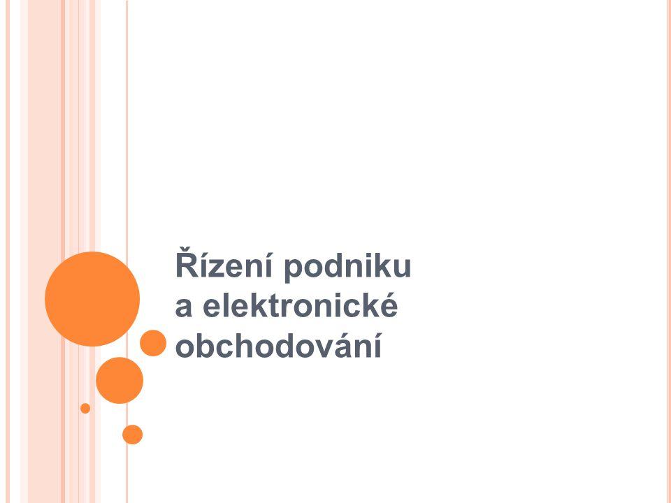 Elektronické podnikání Všechny podnikové procesy ovlivněné internetem Elektronický obchod Řízení dodavatelských sítí Řízení zdrojů podniku Řízení vztahů se zákazníky
