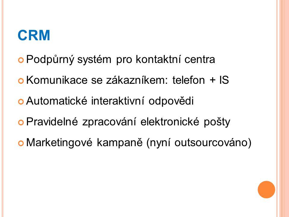 CRM Podpůrný systém pro kontaktní centra Komunikace se zákazníkem: telefon + IS Automatické interaktivní odpovědi Pravidelné zpracování elektronické p
