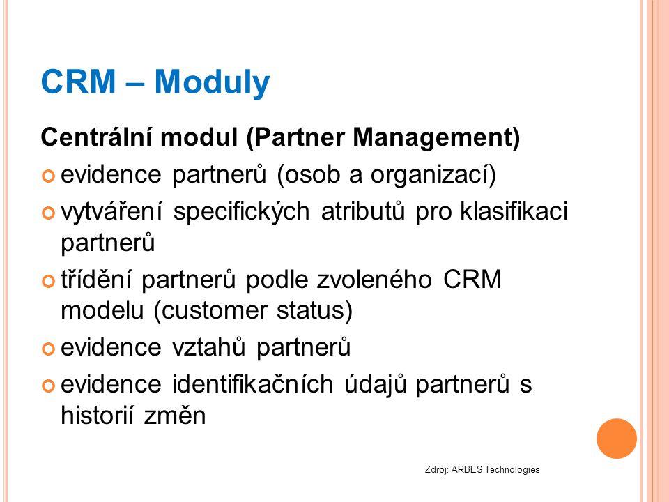 CRM – Moduly Centrální modul (Partner Management) evidence partnerů (osob a organizací) vytváření specifických atributů pro klasifikaci partnerů třídě