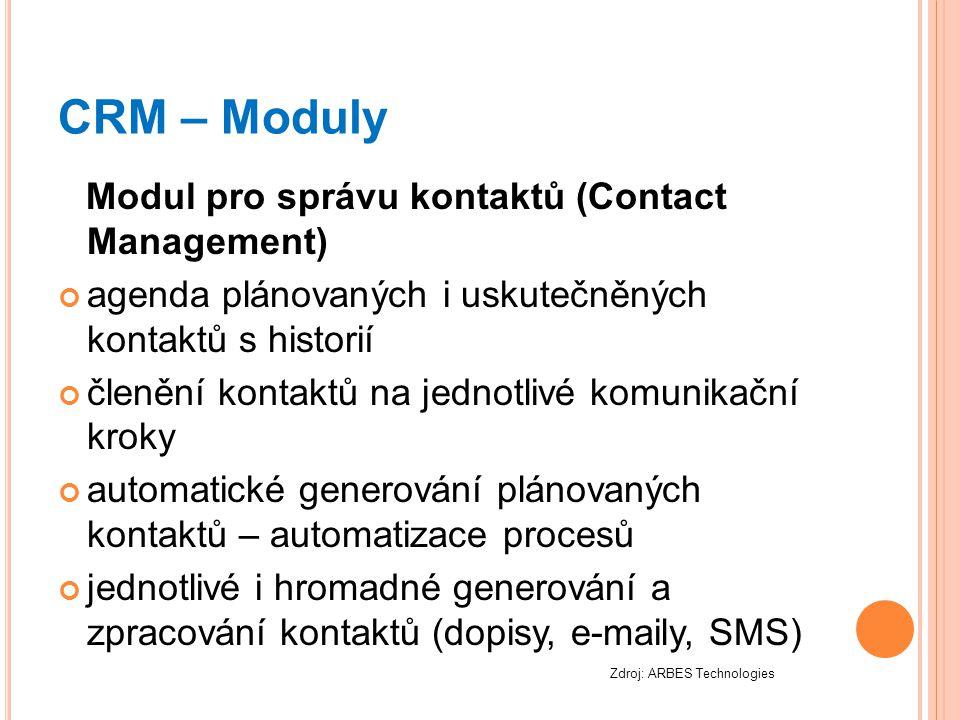 CRM – Moduly Modul pro správu kontaktů (Contact Management) agenda plánovaných i uskutečněných kontaktů s historií členění kontaktů na jednotlivé komu