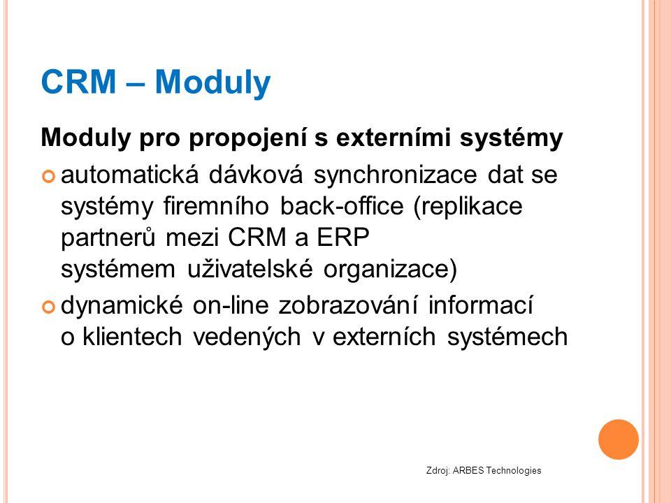 CRM – Moduly Moduly pro propojení s externími systémy automatická dávková synchronizace dat se systémy firemního back-office (replikace partnerů mezi