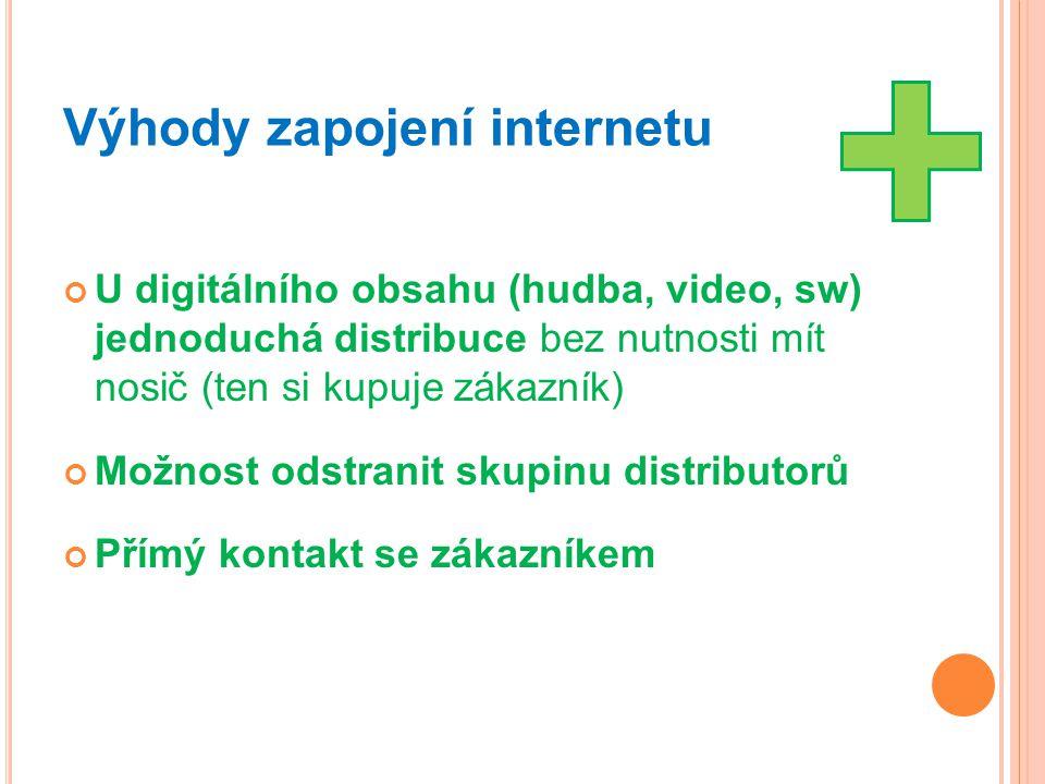 Výhody zapojení internetu U digitálního obsahu (hudba, video, sw) jednoduchá distribuce bez nutnosti mít nosič (ten si kupuje zákazník) Možnost odstra