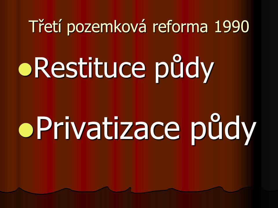 Třetí pozemková reforma 1990 Restituce půdy Restituce půdy Privatizace půdy Privatizace půdy