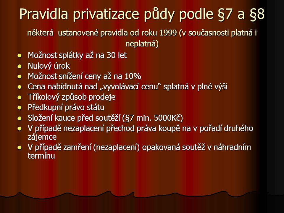 """Pravidla privatizace půdy podle §7 a §8 některá ustanovené pravidla od roku 1999 (v současnosti platná i neplatná) Možnost splátky až na 30 let Možnost splátky až na 30 let Nulový úrok Nulový úrok Možnost snížení ceny až na 10% Možnost snížení ceny až na 10% Cena nabídnutá nad """"vyvolávací cenu splatná v plné výši Cena nabídnutá nad """"vyvolávací cenu splatná v plné výši Tříkolový způsob prodeje Tříkolový způsob prodeje Předkupní právo státu Předkupní právo státu Složení kauce před soutěží (§7 min."""