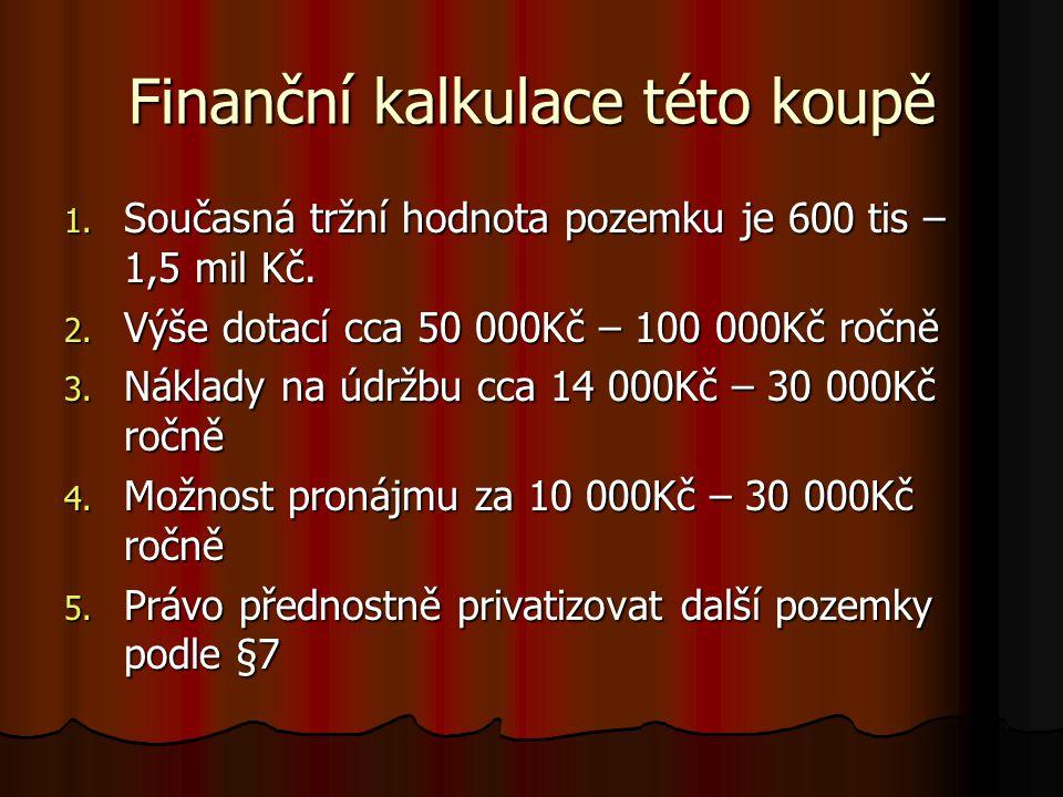 Finanční kalkulace této koupě 1. Současná tržní hodnota pozemku je 600 tis – 1,5 mil Kč.
