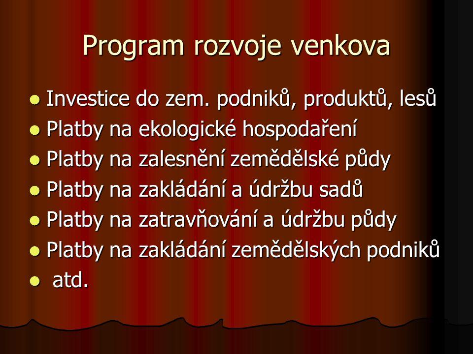 Program rozvoje venkova Investice do zem. podniků, produktů, lesů Investice do zem.