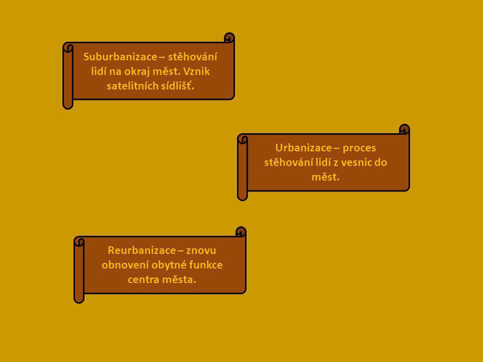 Urbanizace – proces stěhování lidí z vesnic do měst. Reurbanizace – znovu obnovení obytné funkce centra města. Suburbanizace – stěhování lidí na okraj