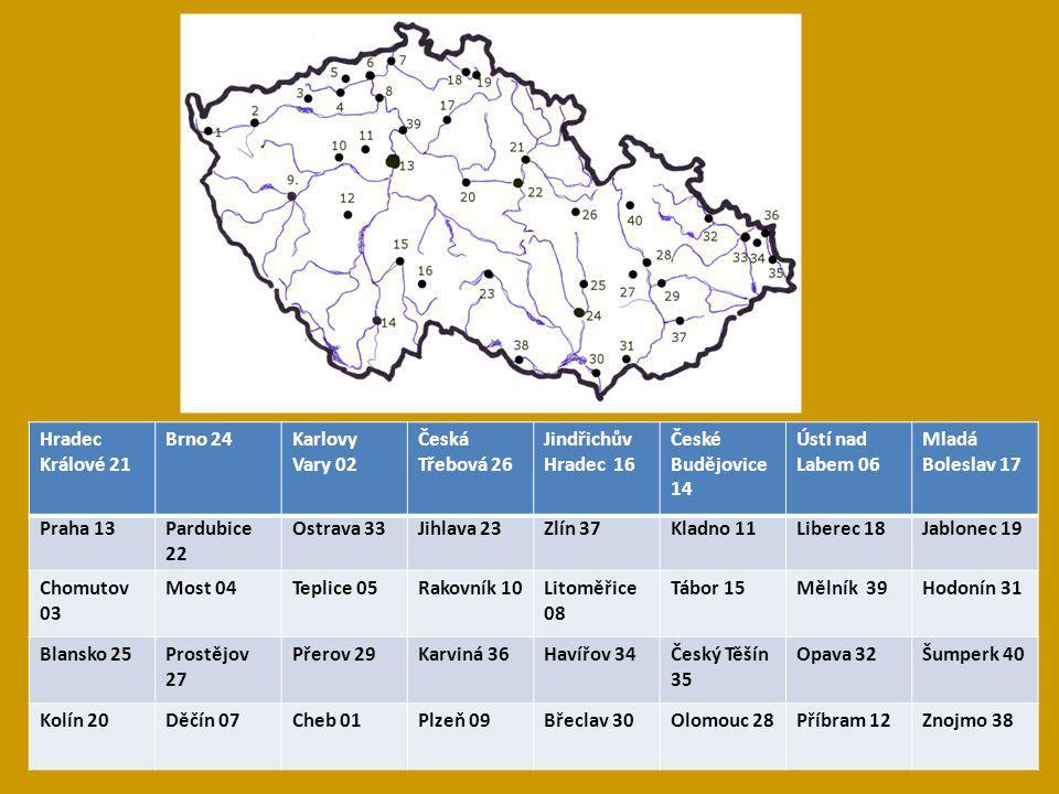Hradec Králové 21 Brno 24Karlovy Vary 02 Česká Třebová 26 Jindřichův Hradec 16 České Budějovice 14 Ústí nad Labem 06 Mladá Boleslav 17 Praha 13Pardubi